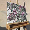 Magnolia - 40x50cm - chassis toile - peint côtés - vernis