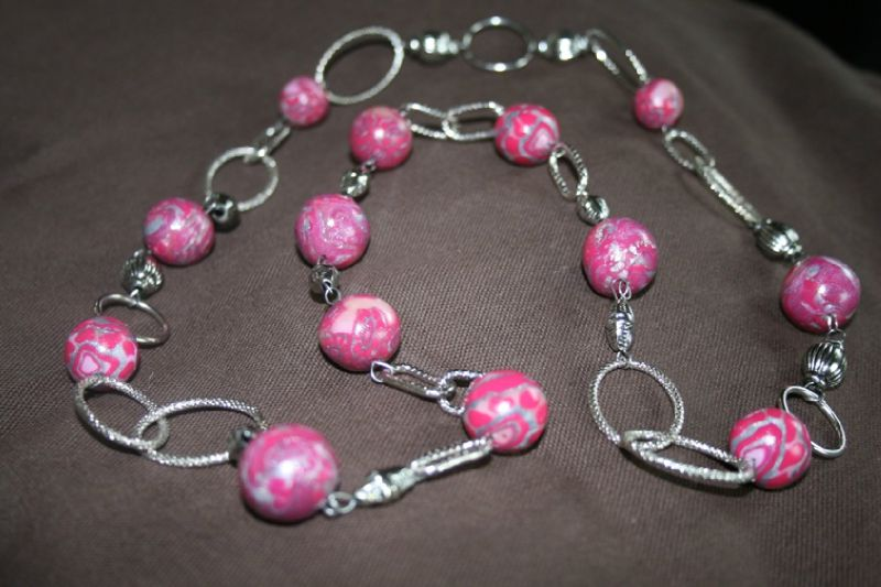 parure (14-1) perles roses