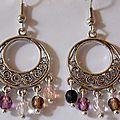 Boucle d'oreille style créole perle cristal
