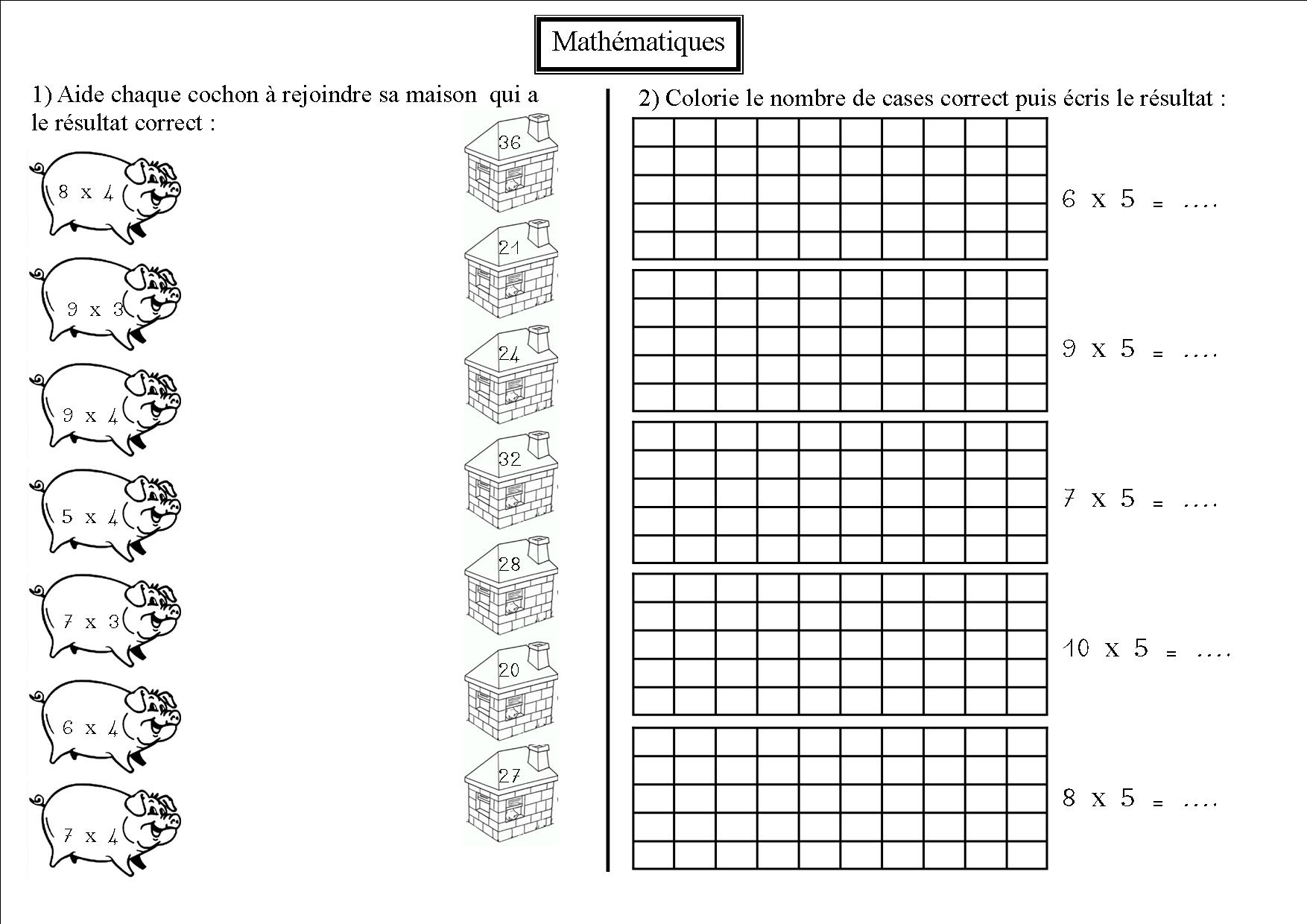 Maths 8 ce2 la multiplication la classe des ce de for La table de multiplication
