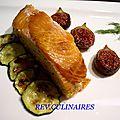 rôti de saumon fumé, figues