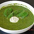 Soupe kale, épinard et tofu