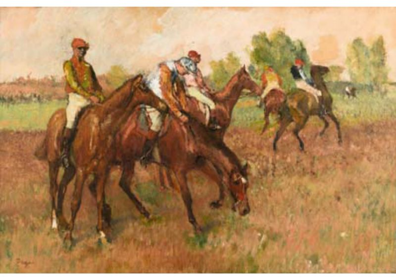 An analysis of detail and composition in avant la course by edgar degas