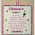 Broderie signification des prénoms Clémence