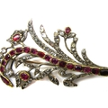 18th century diamond and ruby spray brooch, portuguese, c.1750