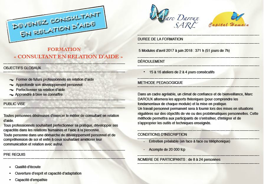 "Formation ""CONSULTANT EN RELATION D'AIDE"" 2017/2018"