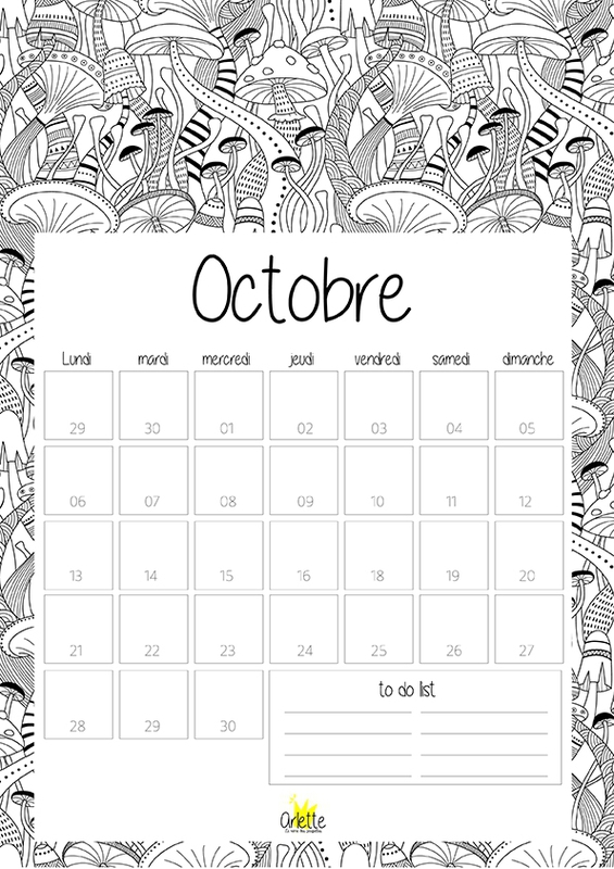 calendriers mensuels octobre 2014 imprimer gratuit. Black Bedroom Furniture Sets. Home Design Ideas