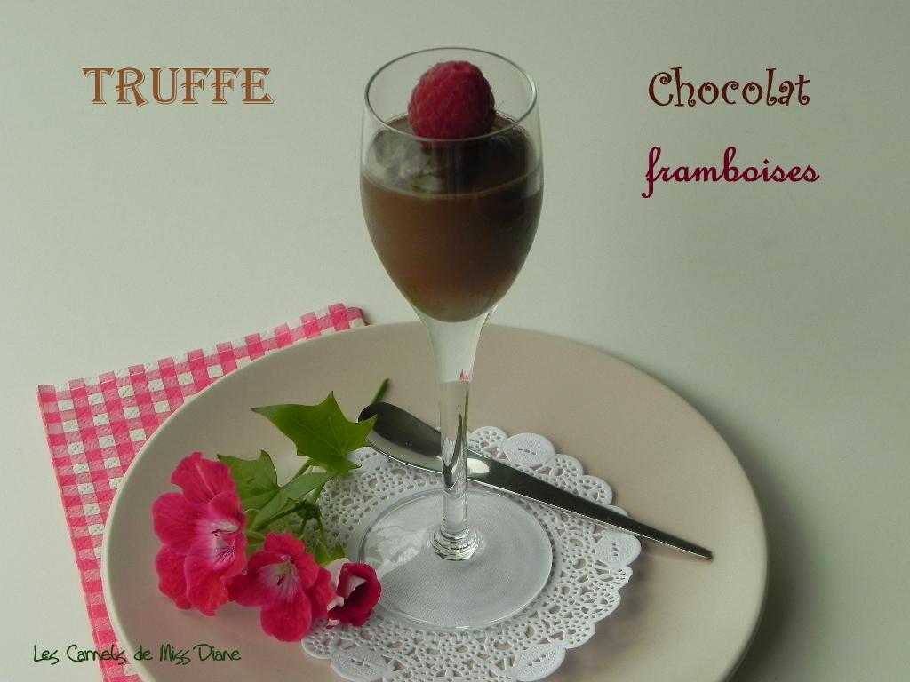 Truffes en coupe, chocolat et framboises, sans gluten et sans lactose
