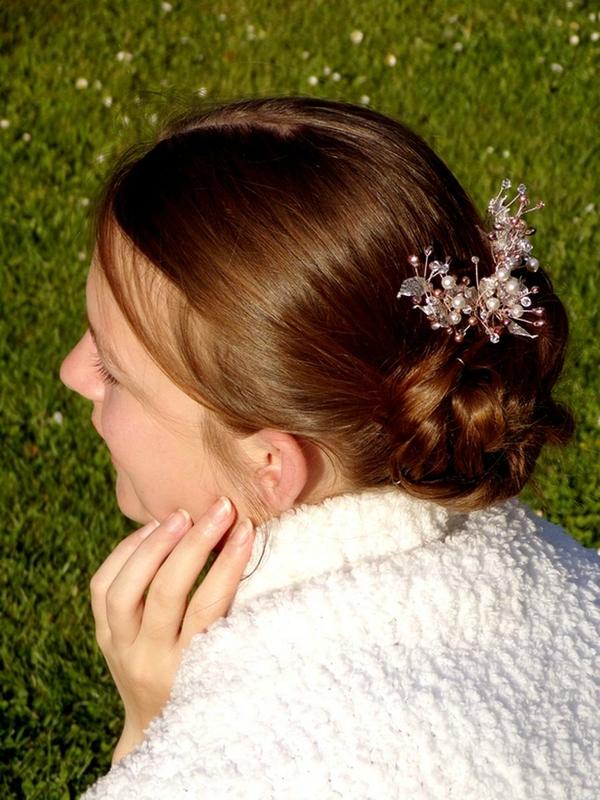 Bijou de cheveux rose blanc cristal swarovski mariage