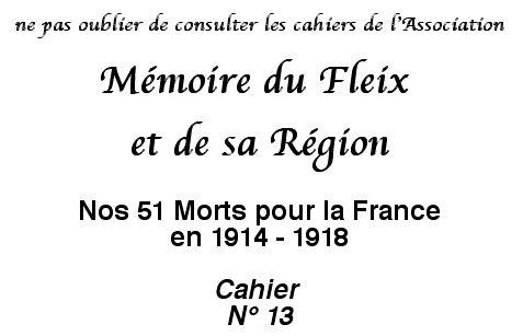 Mémoire du Fleix - Cahier N° 13