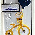 Carte d'anniversaire pour garçon avec vélo jaune et ballon bleu