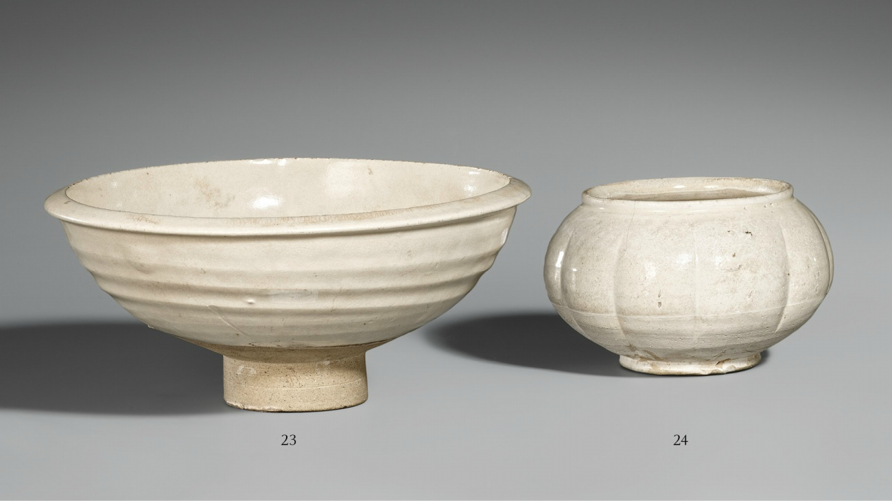 A Cizhou hemispherical bowl. 11th-12th century and a Cizhou-type lobed jar with wide rim. Northern Song or Jin dynasty, 12th c.