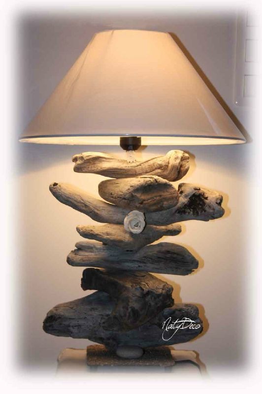 Lampe en bois flott d coration en bois flott et divers for Lampe en bois flotte et galet