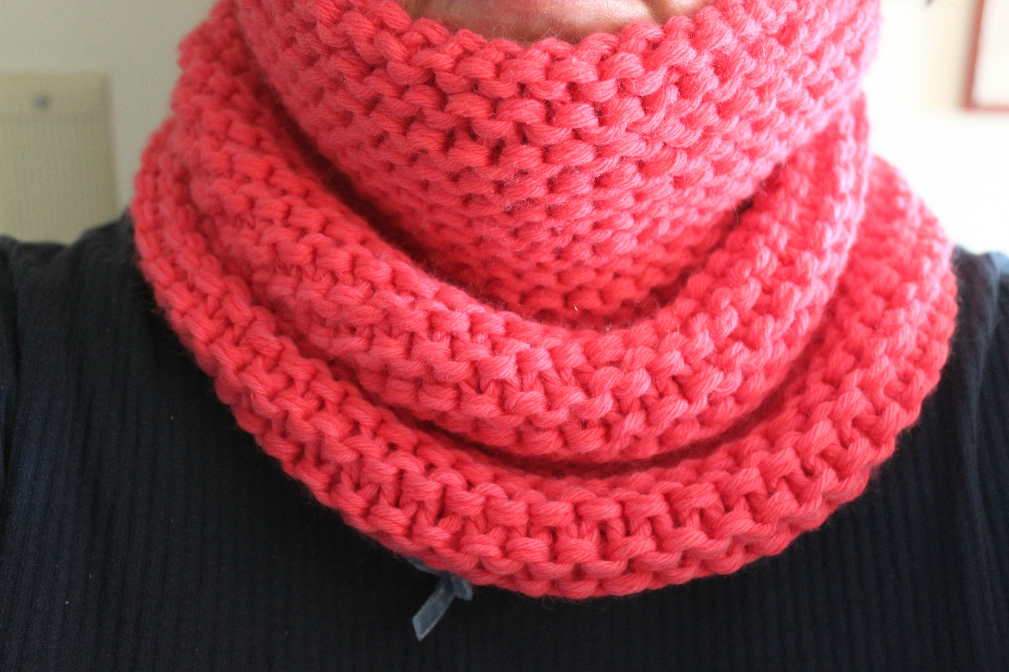 tricoter un snood en point mousse
