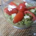 Verrine crème de thon / guacamole / concombre / tomates cerises