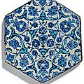 A blue and white hexagonal iznik tile, ottoman turkey, circa 1530