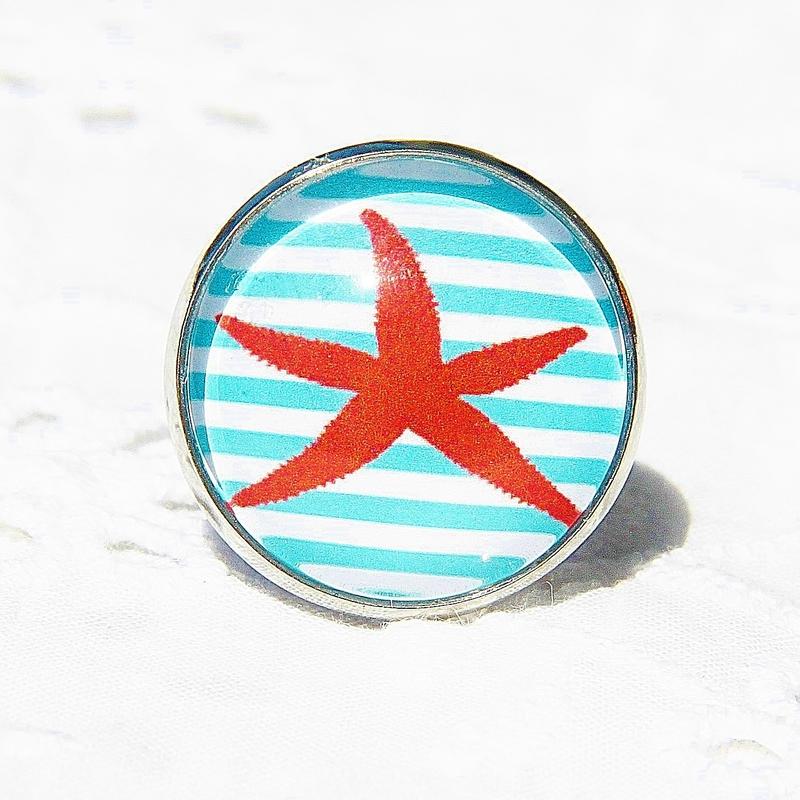 alisée 2 bagues etoile de mer rouge fond rayé bleu blanc cabochon @louiseindigo (8)