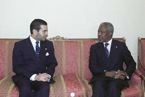Crown Prince Moulay Rachid meeting with Secretary-General of UN Kofi Annan