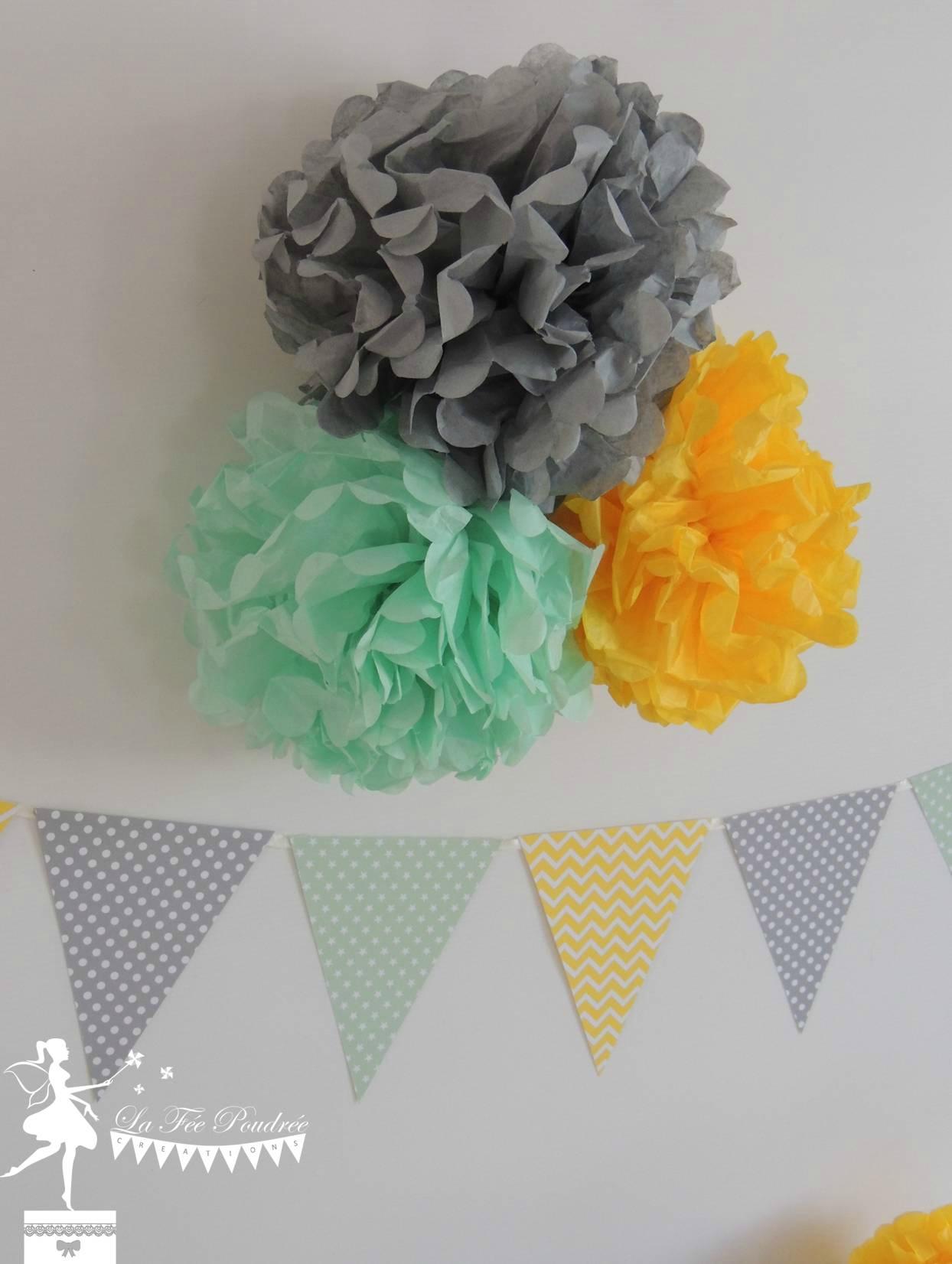 decoration mariage bapteme baby shower anniversaire pompon guirlande fanions moulin5