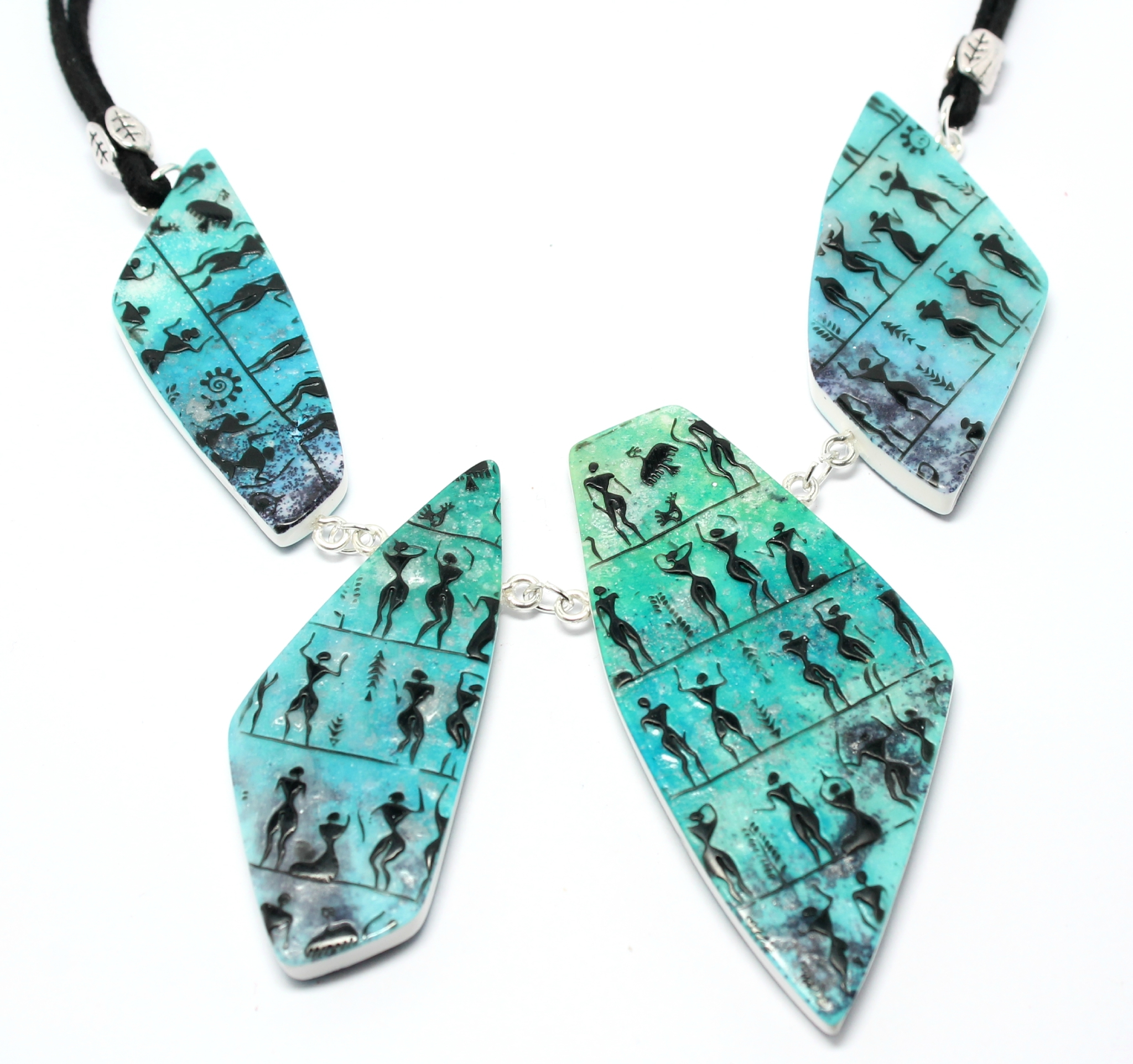 Collier 4 pierres bleues