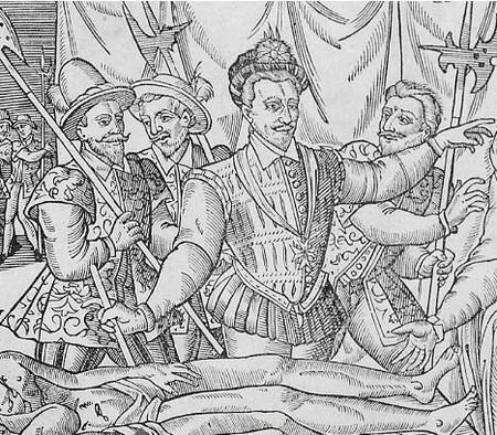 Gravure ligueuse : Anne d'Este devant les corps de ses deux fils