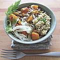 Bol végétarien quinoa, patates douces, fenouil