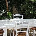 Dans le jardin, table et chaises à ma façon