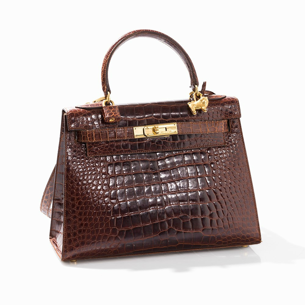 John Dumas for Hermès, Brown crocodile Kelly Bag, Leather, Paris, 1990s