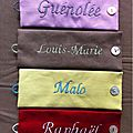 Ronds parme/gris, taupe/vert amande, anis/turquoise, rouge/beige