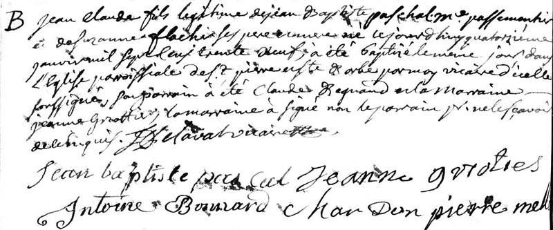 naissance Jean-Claude PASCAL 14 janvier 1739