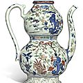 A rare wucai double-gourd ewer and cover, wanli mark and period (1573-1620)