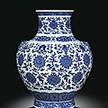 A fine large blue and white ming-style vase, hu. seal mark and period of qianlong