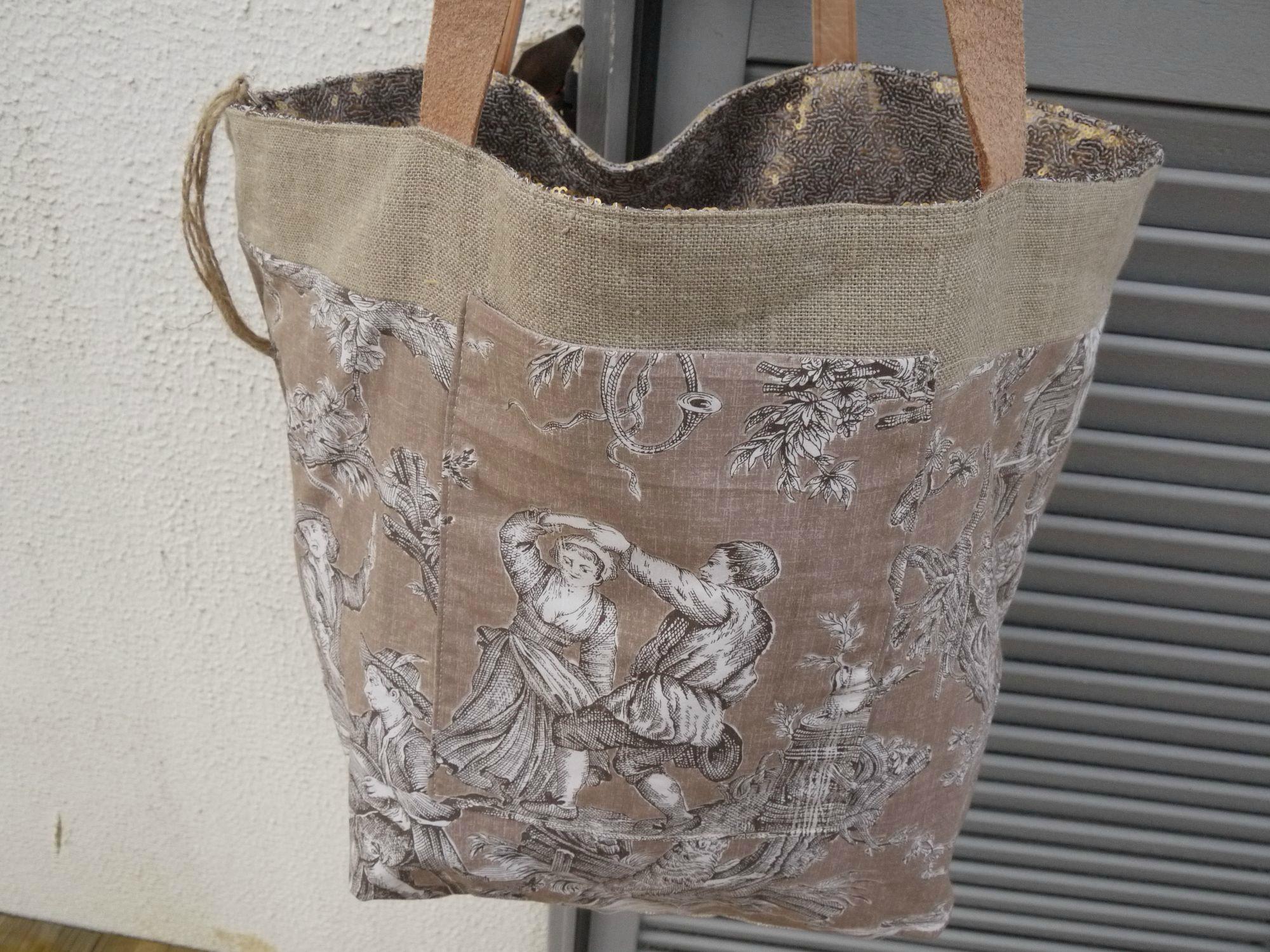 Grand Sac Cabas Tote Bag R Alis En Gros Lin Couleur Naturel