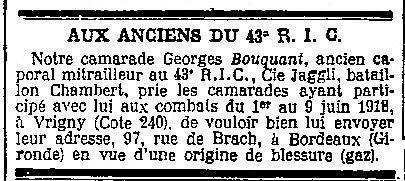 BOUQUANT Journal de mutilés 1926 07 17