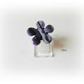 Bague fleur imitation œil de verre violet Ba27 2014