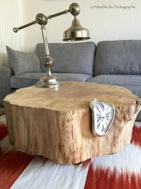 table basse rondin pin 80cm