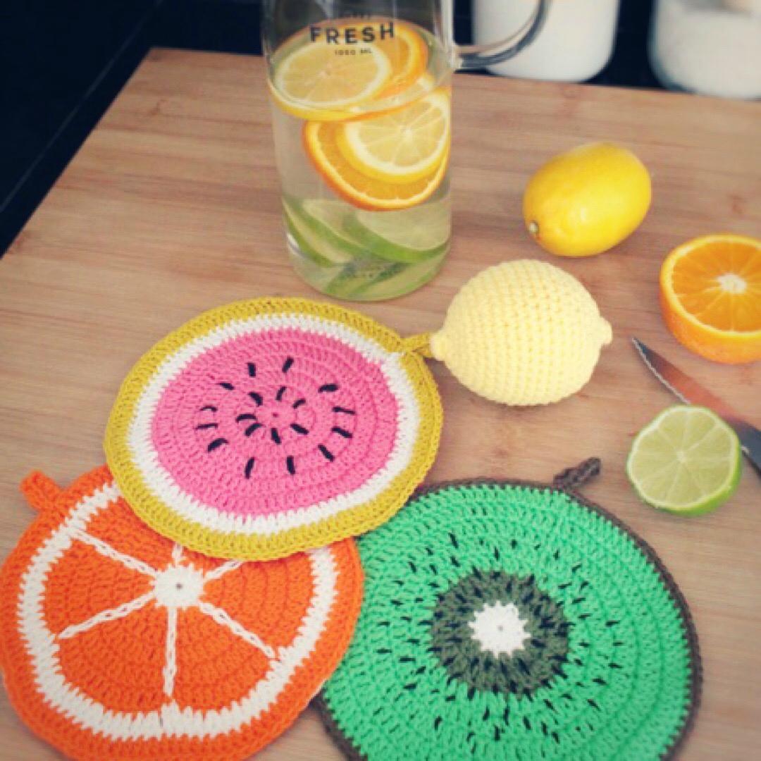 Tutti frutti potholders