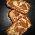 Gâteau marbré aux 2 chocolats (blanc et au lait)