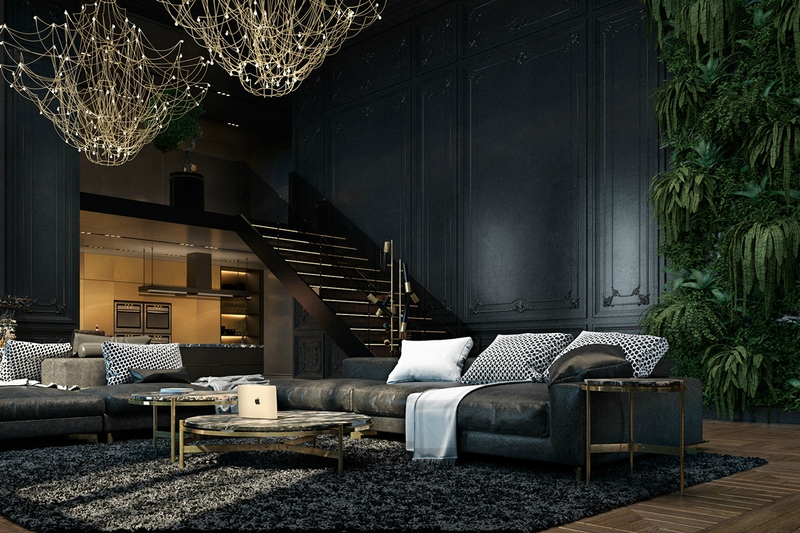 Modern-abandoned-fortress-living-room-luscious-greenery-delicate-chandelier-dimly-lit-space