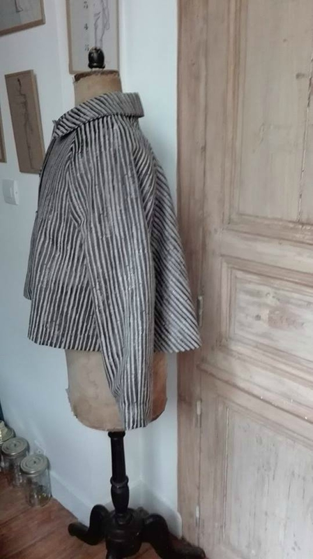 Veste VICTORINE en toile polyester zébré - doublure de satin noire (10)