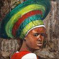 Femme zoulou au chapeau vert