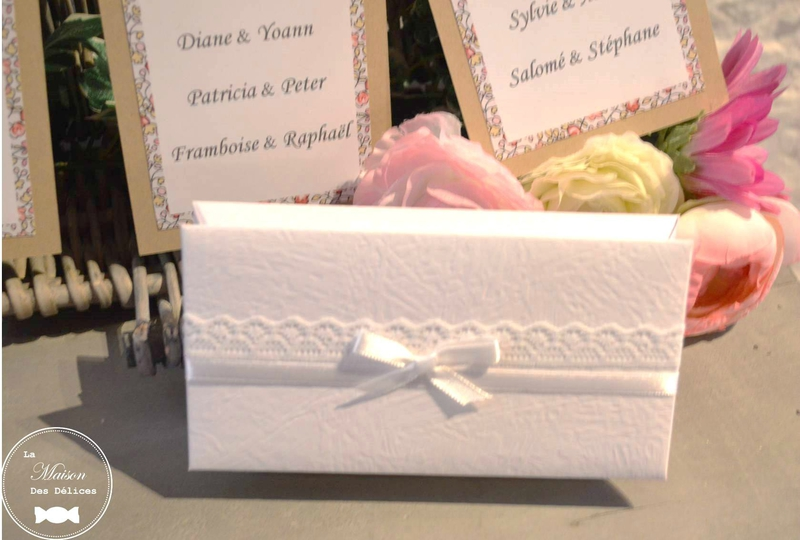 boite dragees chic elegante blanche dentelle contenant mariage bapteme communion