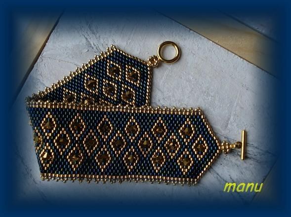 Manchette Framboise or et bleu