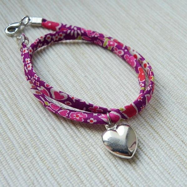 bracelet Liberty rose avec un coeur