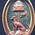 45 - CREMONA - Lévrier sous un pin - embleme de Francesco Sforza - medaillon des stalles du choeur de St Sigismond