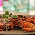 Poêlée de gambas, coriandre et quinoa aux fruits secs