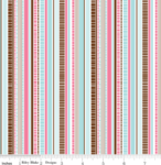Riley Blake Dainty blossoms blue stripes