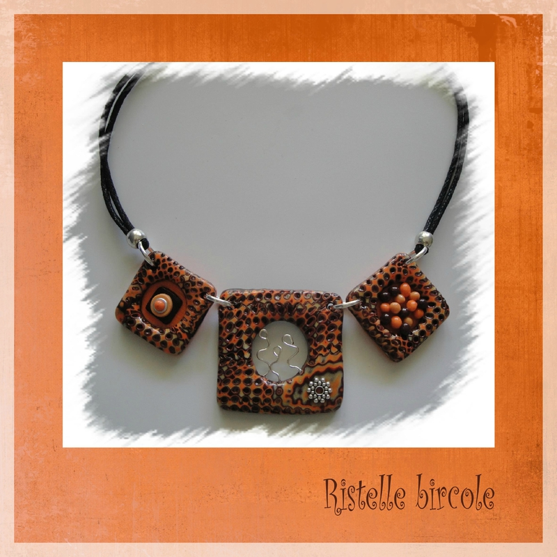 collier marron et orange 1