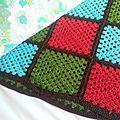 Plaid crochet turquoise vert