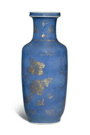 A Chinese powder blue-ground and gilt-decorated rouleau vase, Kangxi period (1662-1722)